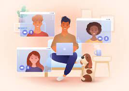 Premium Vector   Work from home, and new normal concept illustration with  young smiling people meeting via video call app.